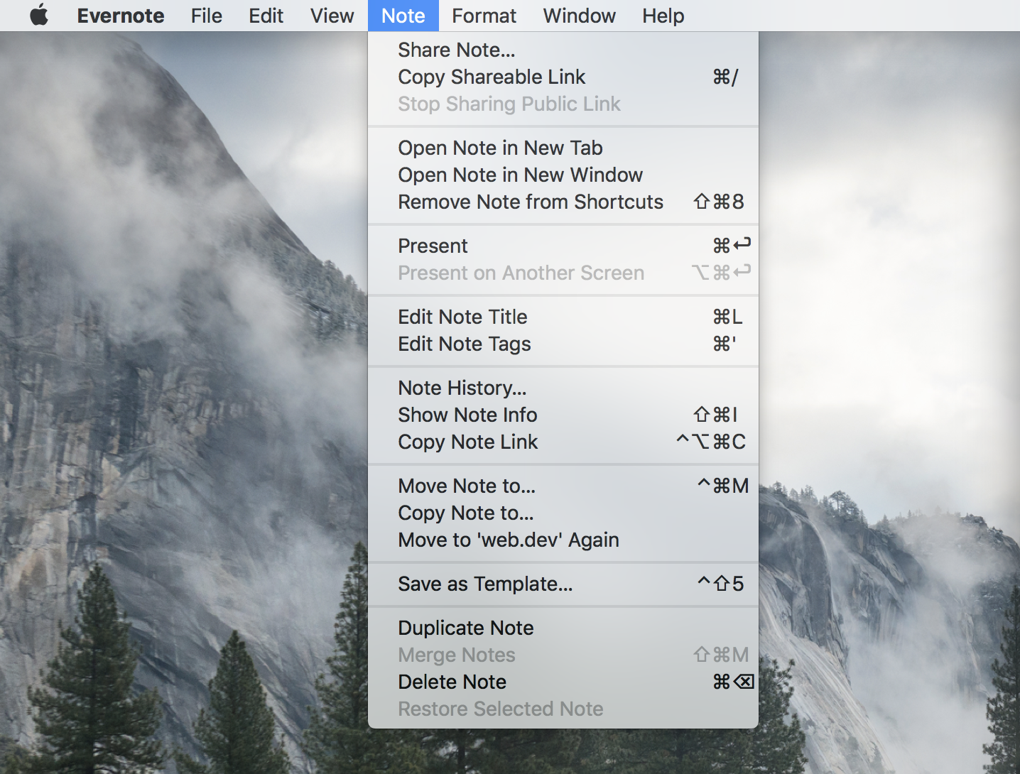 The menu bar for Evernote, showing the Note submenu