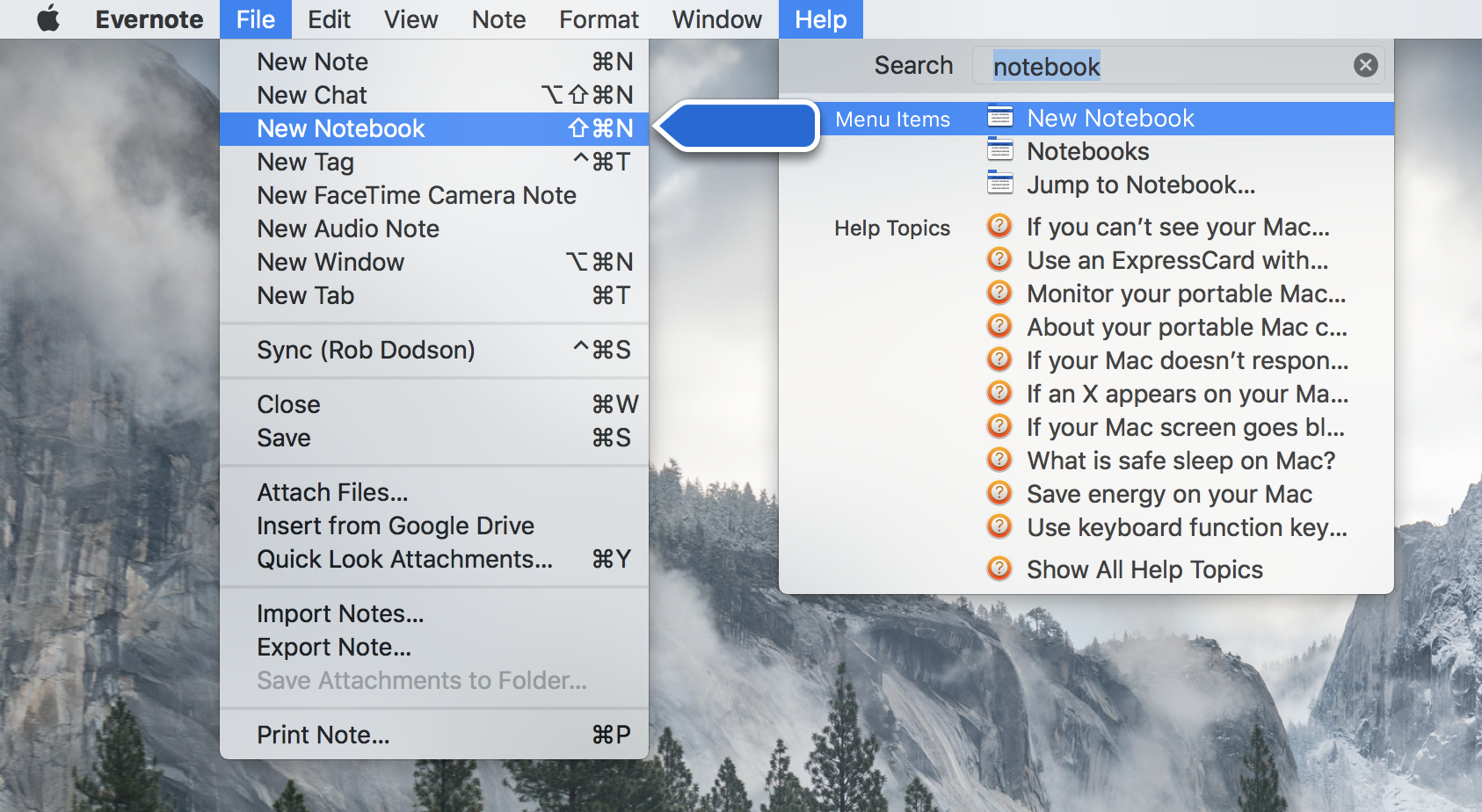 Using Evernote's Help menu to find the New Notebook command