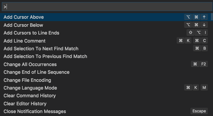 Visual Studio Code's command palette showing a list of commands